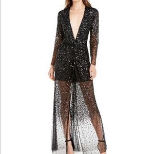 French Connection Emille Deep-V Sequined Dress